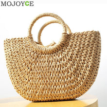 Load image into Gallery viewer, Summer Beach Bag Hand Woven Straw Bags Fashion Women Casual Tote Large Capacity Shopping Bags Women Handbags Moon Shaped Bag