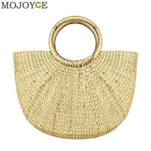Summer Beach Bag Hand Woven Straw Bags Fashion Women Casual Tote Large Capacity Shopping Bags Women Handbags Moon Shaped Bag