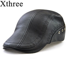 Load image into Gallery viewer, Xthree spring men's hat Faux Leather Beret hat casquette cap Hats for Men Visors Sun hat Gorras Planas Flat Caps PU