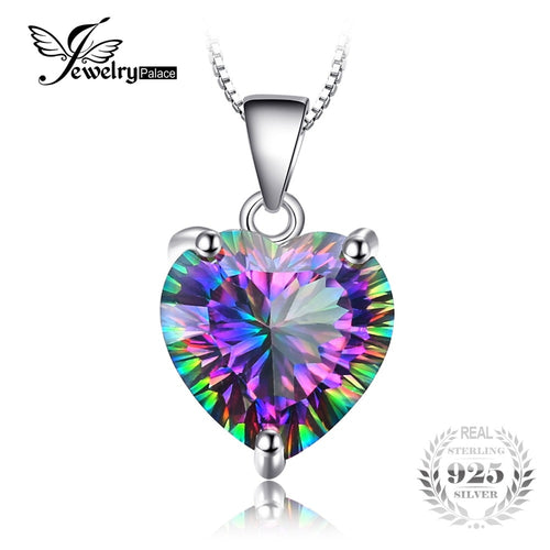 JewelryPalace 4.35ct Genuine Rainbow Fire Mystic Topaz Pendant Solid 925 Sterling Silver Pendant Vintage Jewelry Without a Chain
