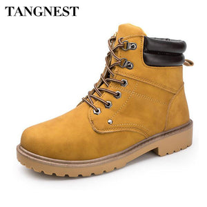 Tangnest NEW Autumn Cowboys Ankle Boots Men Split Leather Lace UP Rubber Boots Casual Thick Bottom Shoes Western Boot XMX911