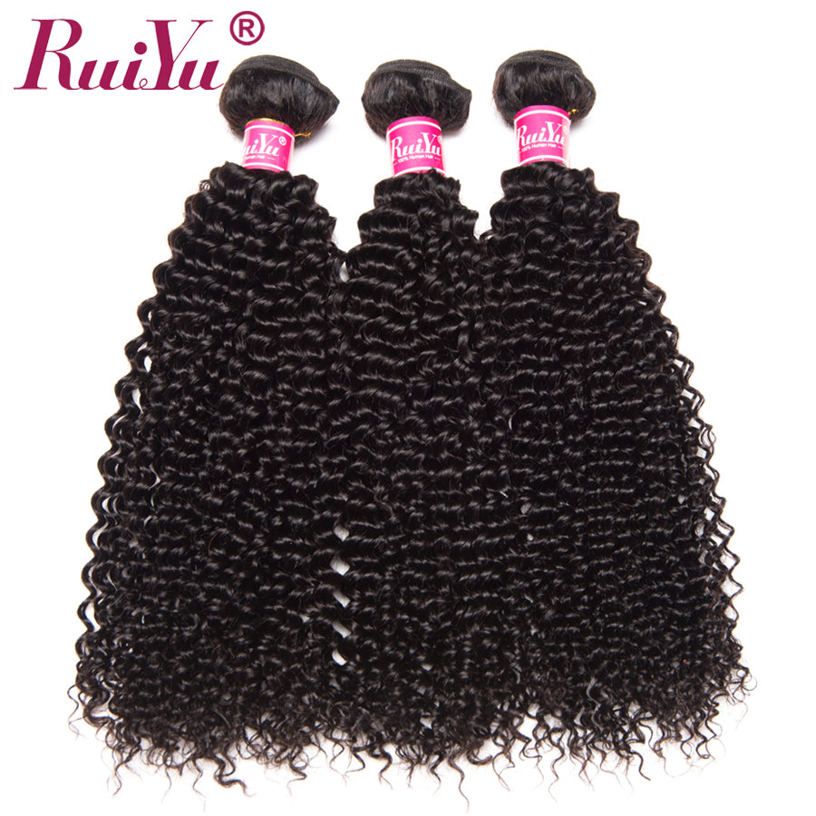 RUIYU Peruvian Hair Bundles Kinky Curly Hair 100% Human Hair Weave Bundles 3 Pieces Non Remy Hair Extensions Natural Color Weft