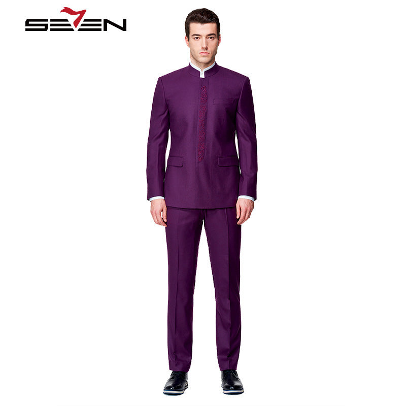 Seven7 Custom Made Dress Suits Men Business Formal Suits Mandarin Collar Lapel Tuxedos Purple Jacket+Pants Gift For Father Dad