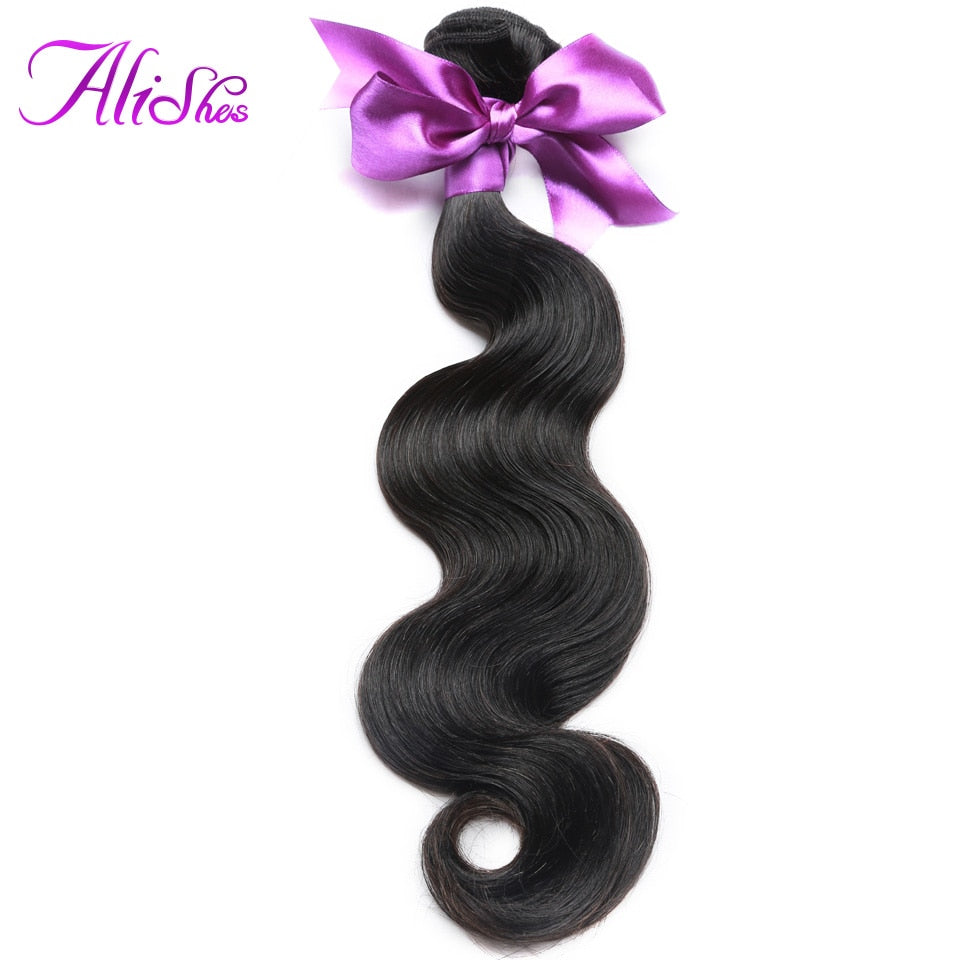 Alishes Malaysian Body Wave Hair Bundles 100% Human Hair Weave Bundle Deals 8-28 Inch Mixed Non Remy Hair Extensions 1/3 Pieces