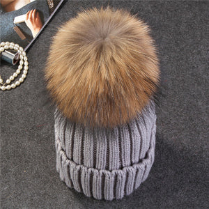 Xthree mink and fox fur ball cap pom poms winter hat for women girl 's hat knitted  beanies cap brand new thick female cap