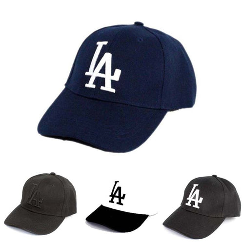 Summer LA Letter Embroidered Print Hat with Travel Baseball Cap Hat Strap Hip Hop Cap