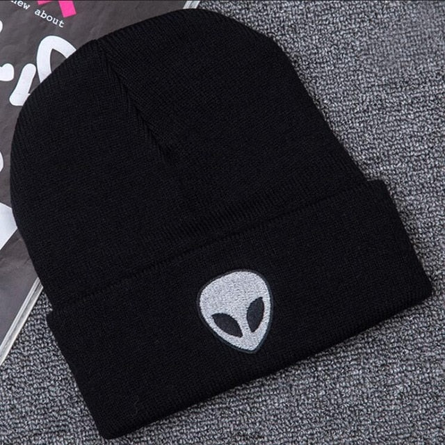 Winter Skullies & Beanies Hot Explosion New Candy Color Pattern Alien Print Knitted Hat Cap Wool Men Women Hat Gifts