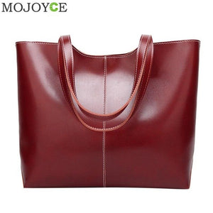 Retro Women Lady Simple PU Leather Shoulder Handbags Solid Shopping Totes Pouch Girls Large Capacity Travel Packs Bag Organizer