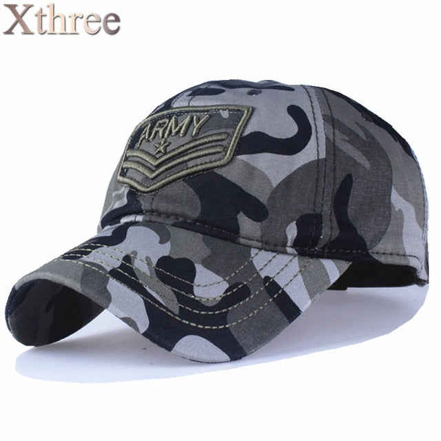 Xthree camouflage baseball cap Letter army snapback Hat for men Cap gorra casquette dad hat Wholesale