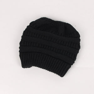 Fashion Winter Women's Knitting Wool Hat Earpiece Cap with A Ponytail Cap Stretchy Warm Hat Beanie 3 Colors