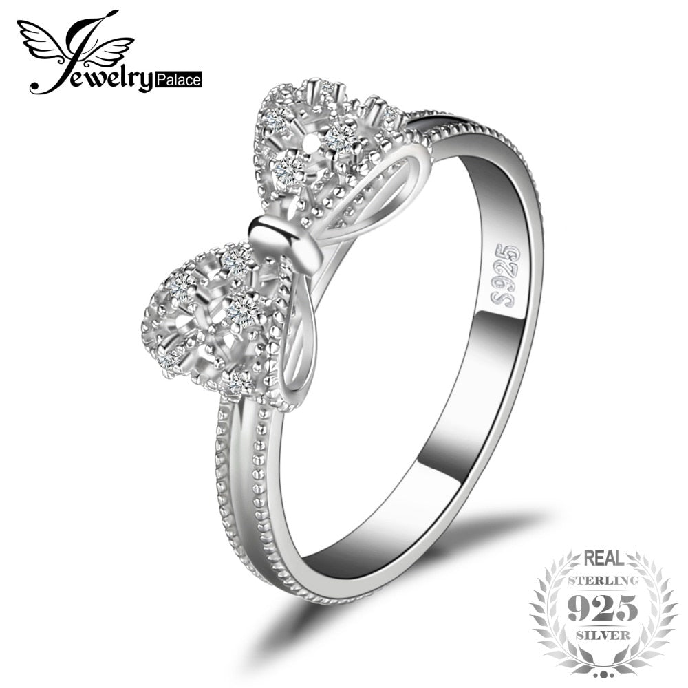 JewelryPalace Bow Anniversary Wedding Ring For Women Soild 925 Sterling Silver Jewelry For Girl Party Friend Gift