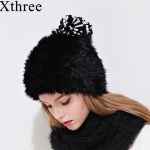 Xthree fashion winter women's hat rabbit fur beanie for girl with knit pom pom Double-deck knitting cap