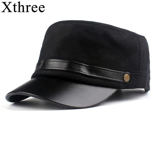 Xthree Vintage Hats For Women New Fashion Wool Military Hat Winter Gorras Planas Snapback Caps Female Casquette Octagonal Cap