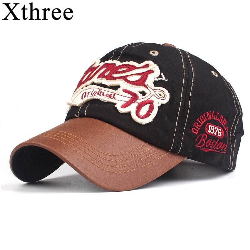 Xthree cotton men baseball cap fitted cap snapback hat for women gorras casual casquette embroidery letter cap