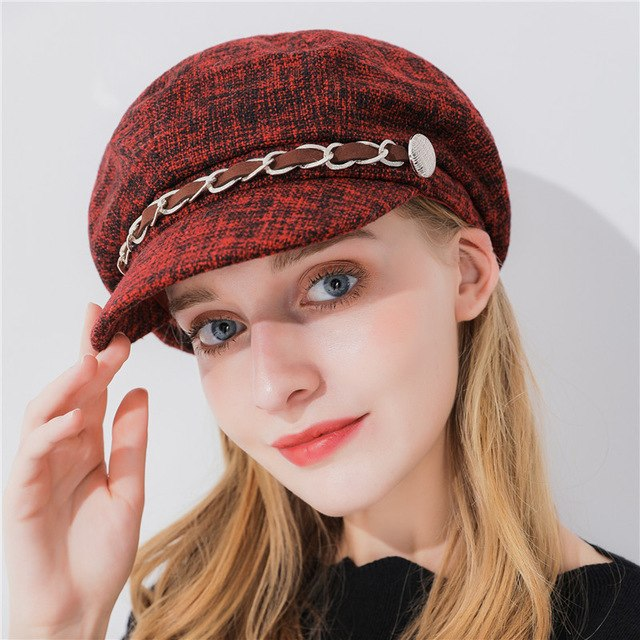 Xthree  women winter hat cotton octagonal hat with visor chain fashion newsboys hat girl autumn hat for women