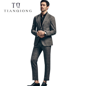 TIAN QIONG Men Latest Coat Pant Designs 50%WOOL Tailor-made Wedding Suit Stage Wear Clothing Fashion Mens Breasted 2 Piece Suits