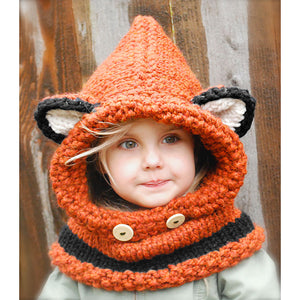 Cute Baby Unisex Knitted Hat Fox Style 3D Ears Button Hooded Scarf Shawl Winter Warm Animal Cap Headwear Orange/Gray