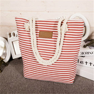Girl Leisure Summer Canvas Shopper Shoulder Bag Striped Beach Bags Big Capacity Tote Women Ladies Casual Shopping Handbag