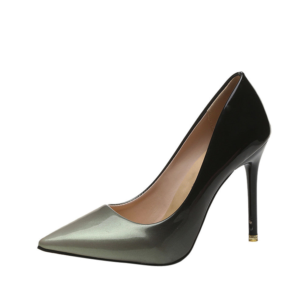 Women Fashion Gradient Color Patent Leather Shoes Pointed Toe High-Heeled Shoes