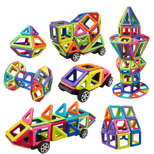 76Pcs 3D Magnetic Construction Building Puzzle Block Educational Kids Toys