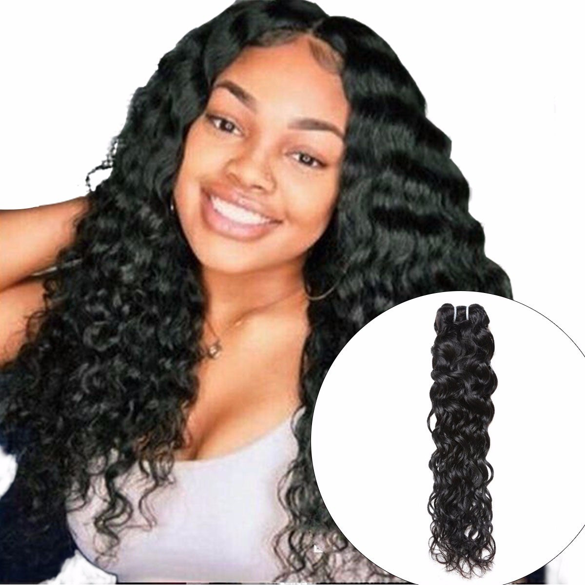 Malaysian Water Wave Hair Bundle, 1 Piece Deal Non Remy 100% Human Hair Weave Extension, Can Buy 3 Or 4 Bundles 10inches