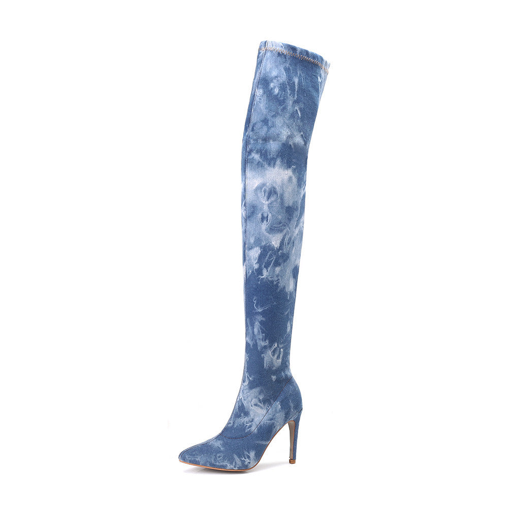 Ladies Women Super High Heel Ankle Over The Knee Boot Denim Zipper Boots Shoes