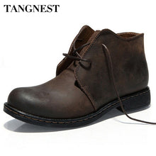Load image into Gallery viewer, Tangnest Boots Men Autumn Winter Nubuck Leather Ankle Boots Fashion British Lace-up Cowboy Boots Casual Men Shoes  XMP355
