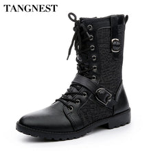 Load image into Gallery viewer, Tangnest Autumn Punk Martin Boots Men Fashion PU Leather Lace-up Motorcycle Boots Black Vintage High Top Buckle Shoes Man XMX516