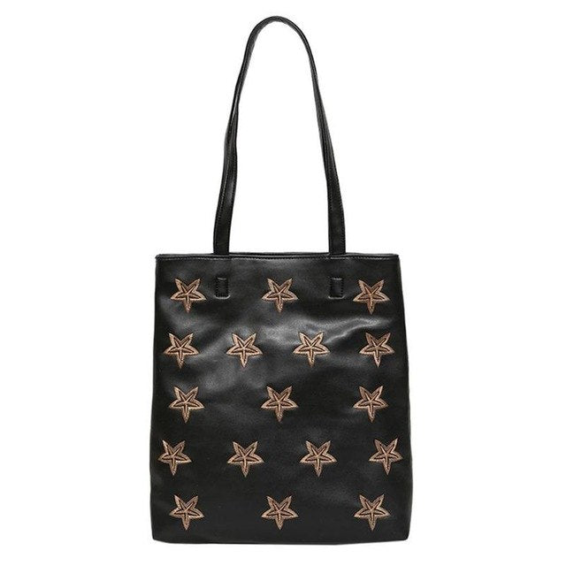Women Fashion Stars Embroidery Bag PU Leather Black Handbags Girls Big Shopping Bags Casual Shoulder Bag Female Totes Handbag