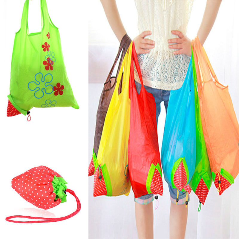 New Nylon Foldable Reusable Shopping Bags Strawberry Tote Eco Storage Handbag CN