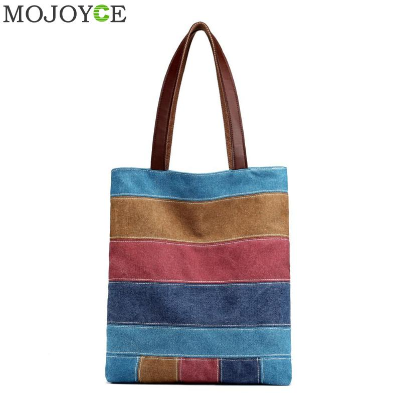 Colorful Vintage Women Canvas Shoulder Handbags Shopping Casual Totes Bags