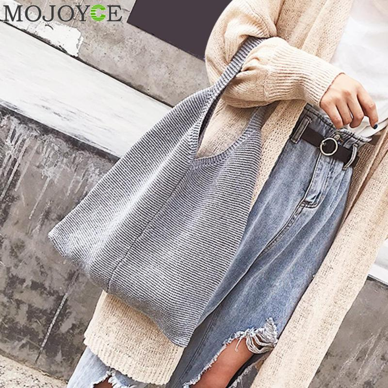 Korean Handmade Handbags Soft Fabric Knitted Women Girls Handbag Casual Tote Shoulder Bags Large Capacity Travel Shopping Bags