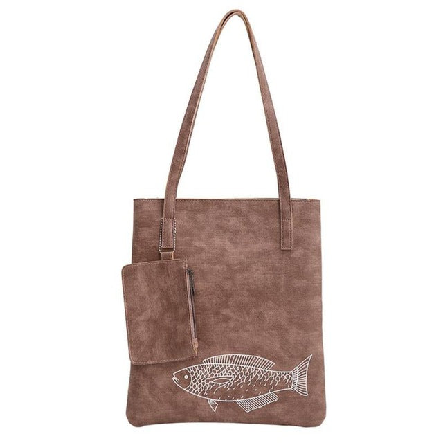 Fashion Women Handbag PU Leather Shoulder Bag Casual Large Totes Handbags Fish Printed Shopping Bags for Women Shoulder Handbag