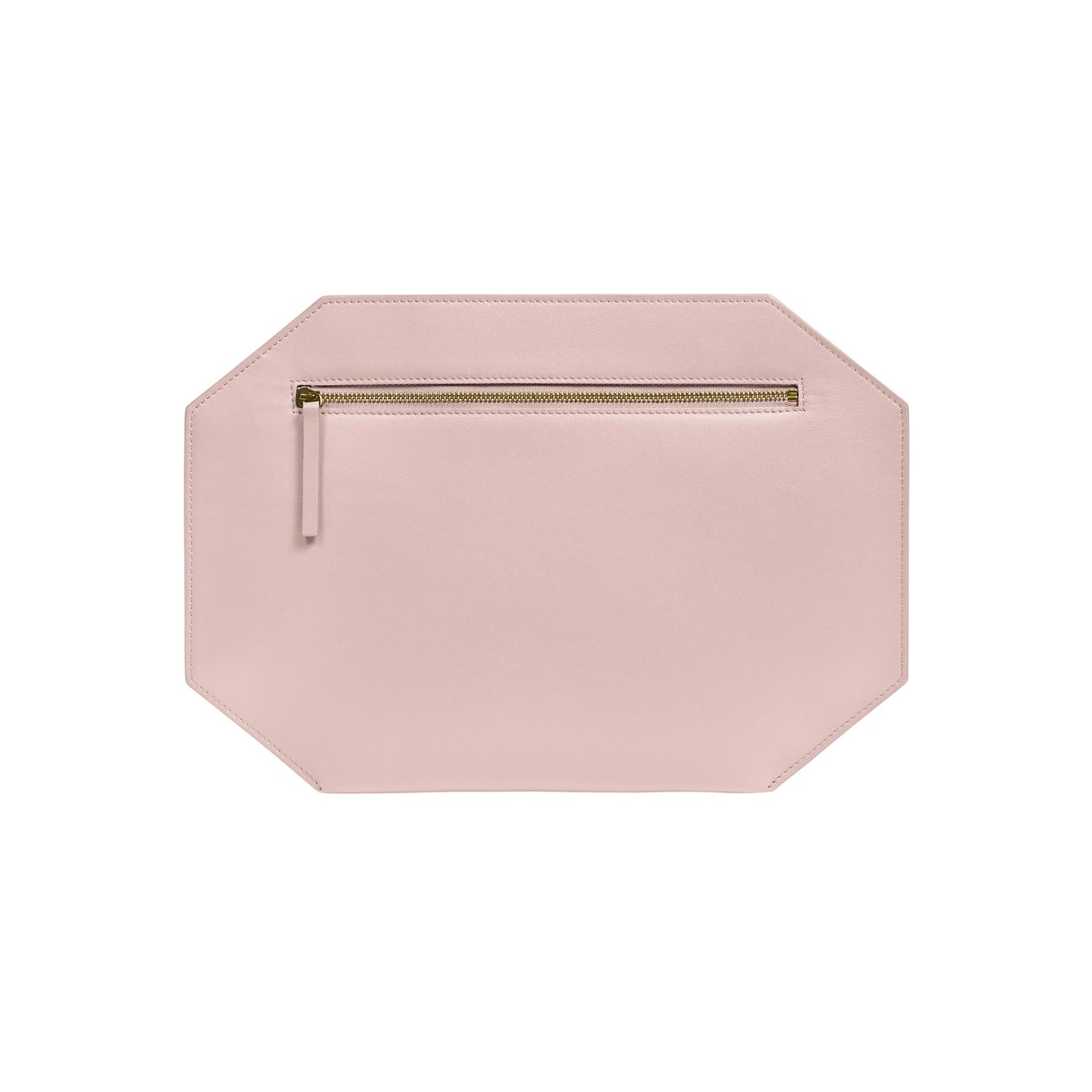 "Large polygon shape clutch purse, made of exceptional quality smooth matte leather  100% leather Zipper closure Canvas lining Measures: 8.5""h x 12.5"