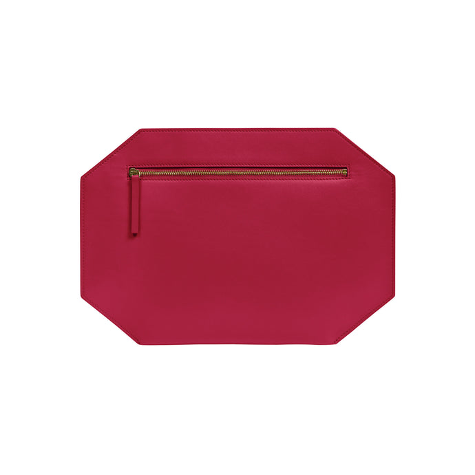 "Large clutch purse, made of exceptional quality smooth matte leather  100% leather Zipper closure Canvas lining Measures: 8.5""h x 12.5"