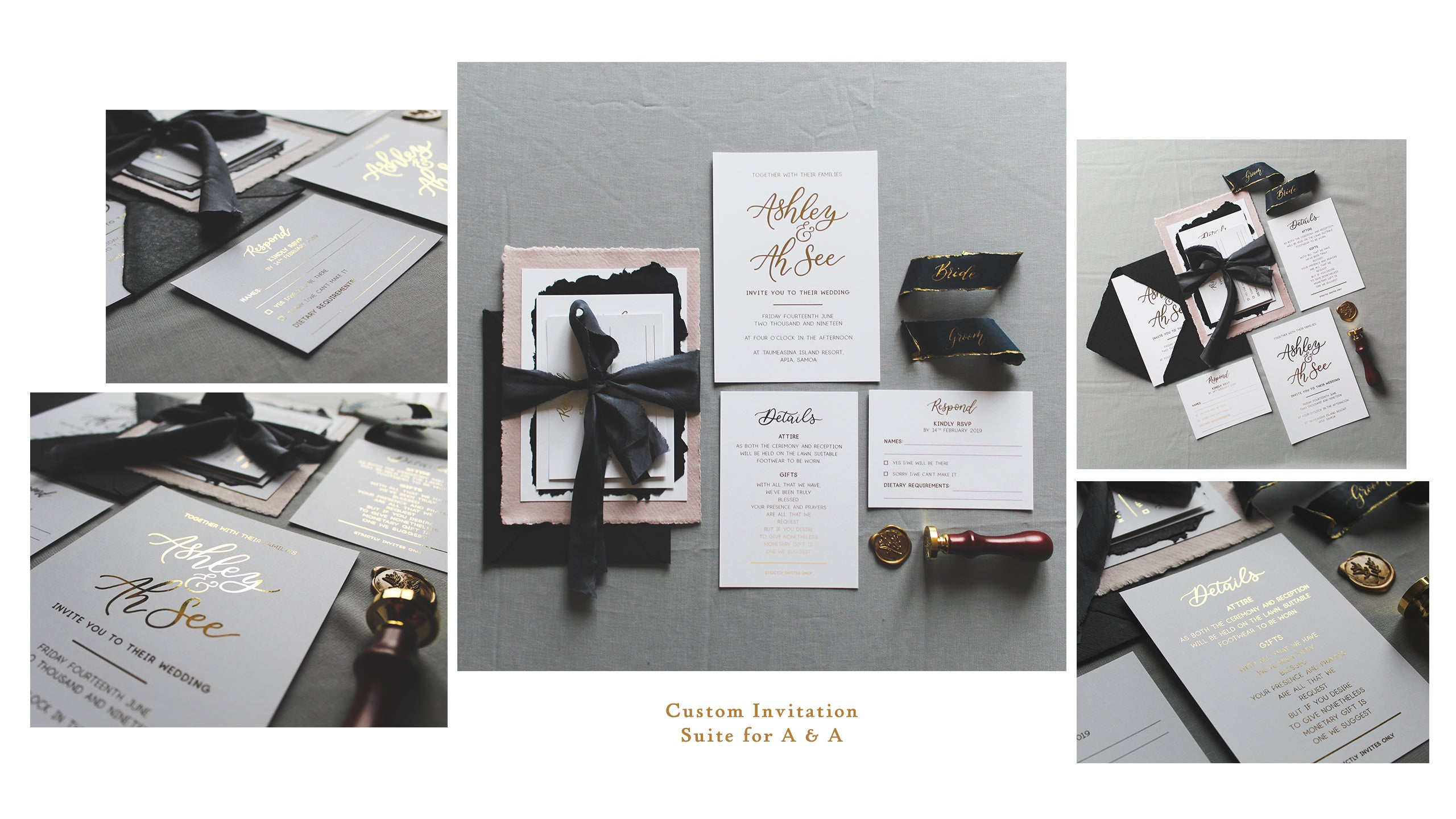 custom wedding invitation suite with hand lettering modern calligraphy and gold foil