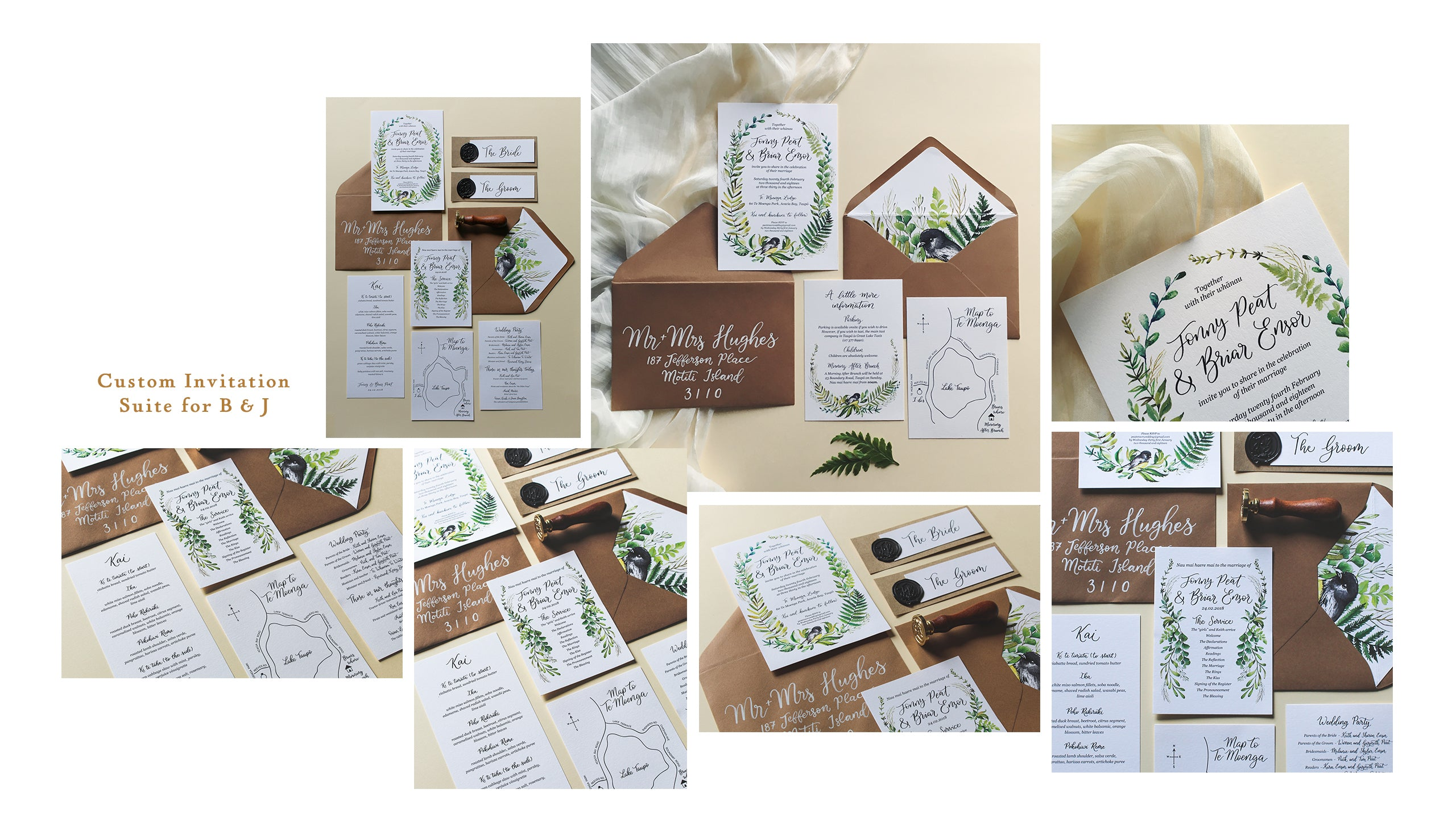 wedding invitation suite watercolor wreath and hand lettering with envelope liner
