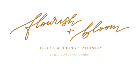 flourish and blood bespoke wedding stationery made in new zealand gold logo