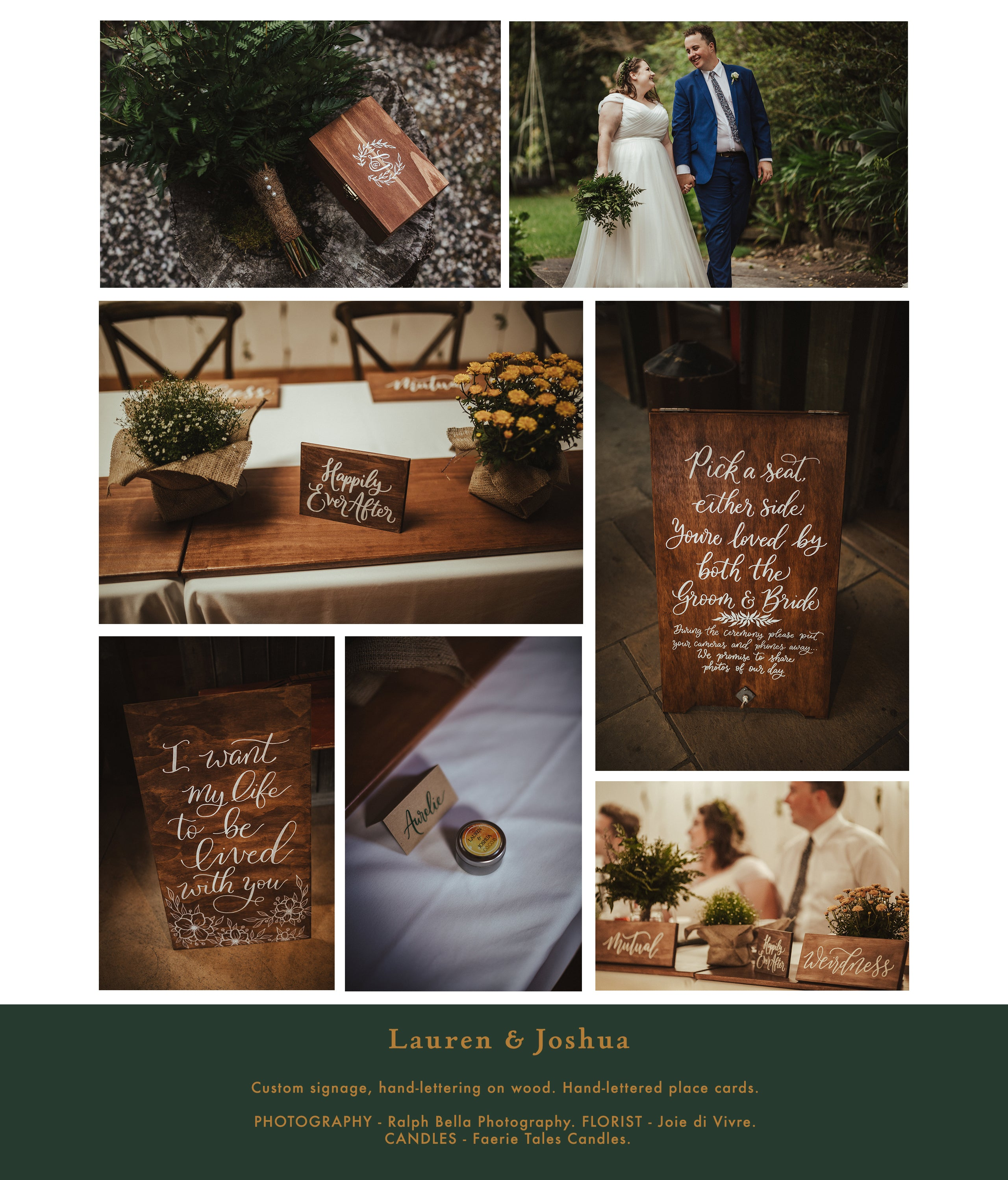 real weddings photos custom signage for weddings by flourish and bloom