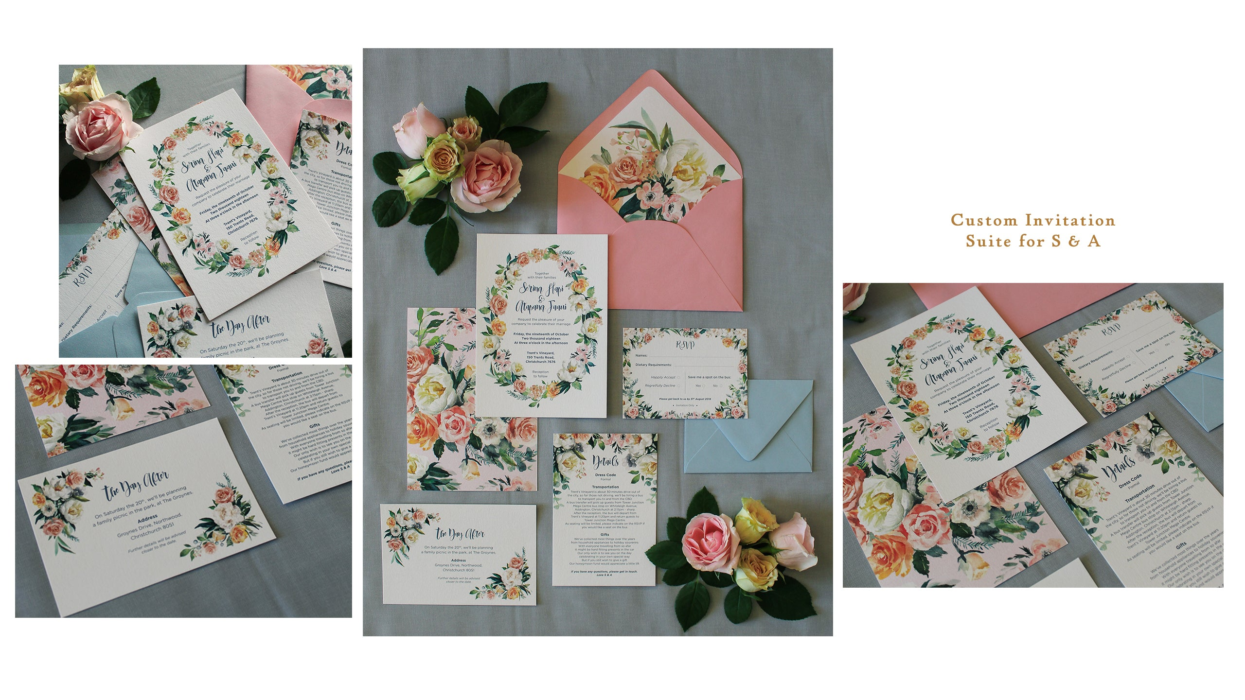 custom wedding invitation suite with watercolor floral wreaths