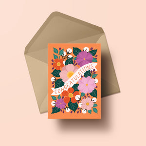 congratulations card with hand painted flowers in bright colours with orange background, made in nz