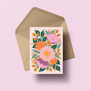 full bloom hand painted flower greeting card pastel tones made in nz