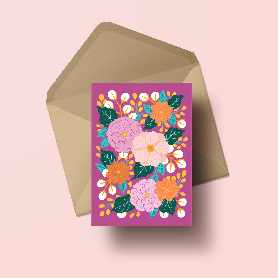 colourful hand painted flower greeting card with fuchsia background, made in nz