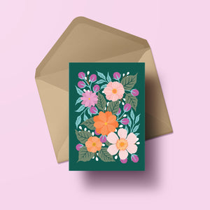 hand painted flower greeting card with dark green background, made in nz