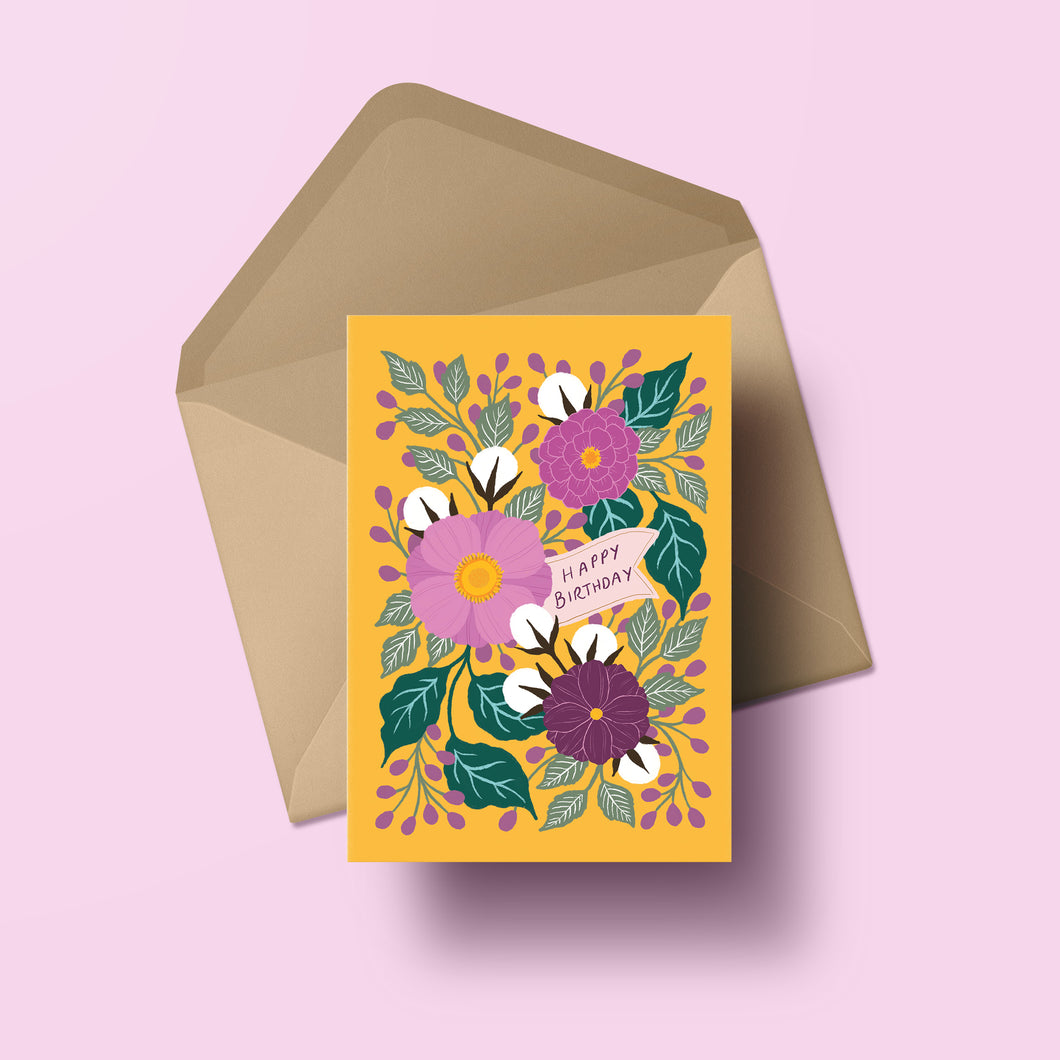 birthday card featuring hand lettering and colourful hand painted flowers. made in nz