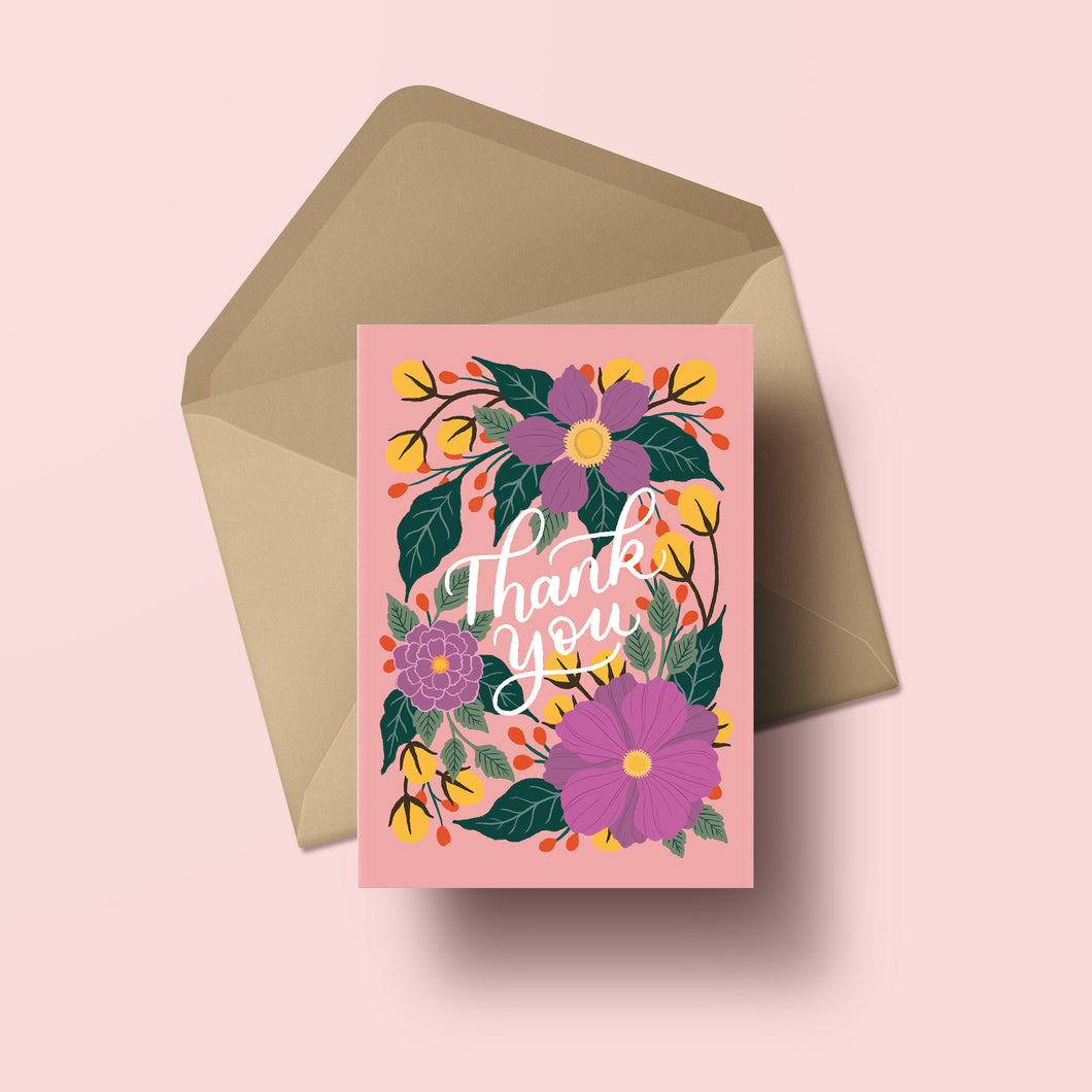 hand lettered thank you card with floral illustrations on a blush background, made in nz