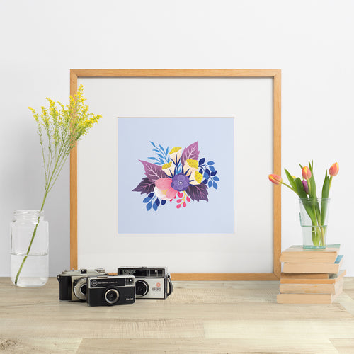 colourful bouquet of hand painted flowers art print made in new zealand