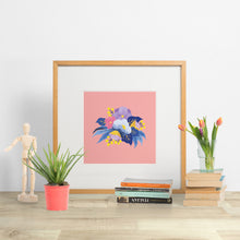 Load image into Gallery viewer, modern hand painted flowers on a background of blush pink. modern decor paper goods made in new zealand.