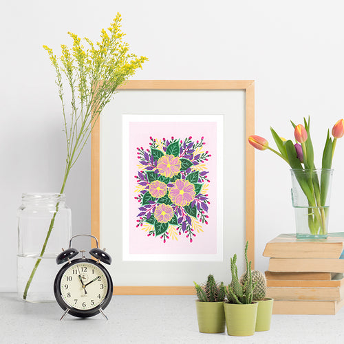 Folk Art Florals on Pink - Indigo Eleven Design