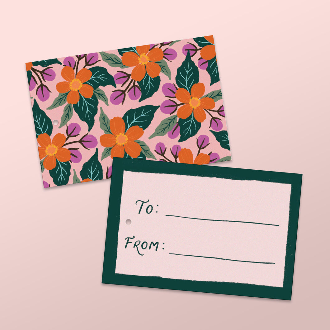 blush gift tags with hand illustrated florals, made in nz